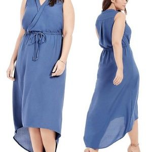 12 new JUNAROSE BLUE CREPE HI-LO wrap MAXI DRESS